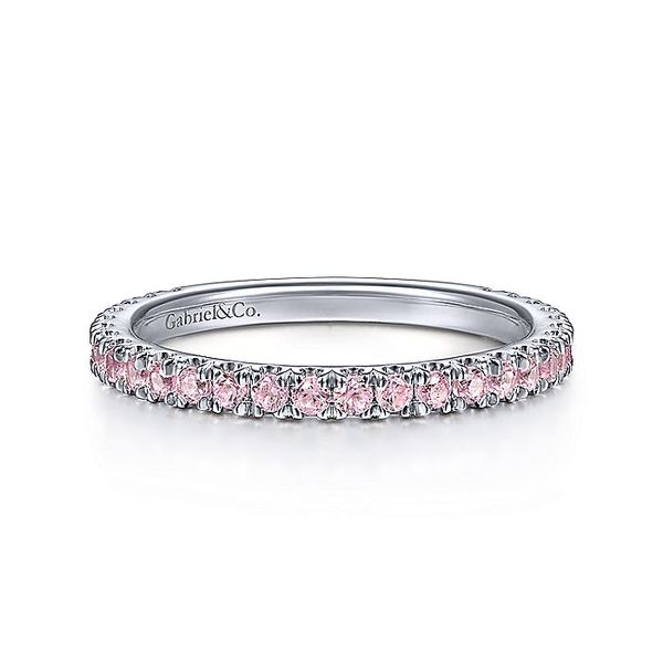 Gabriel & Co White Gold Pink Created Zircon Stackable Ring David Scott Fine Jewelry Panama City Beach, FL
