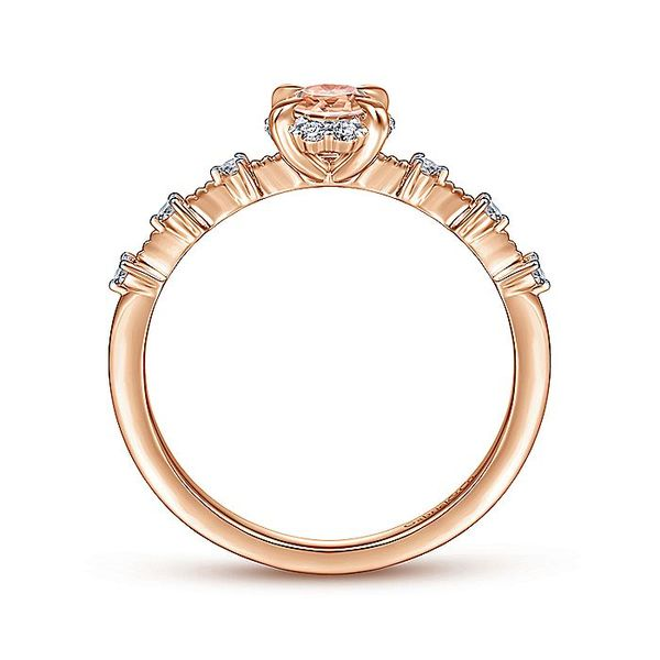 Gabriel & Co Rose Gold Round Morganite and Diamond Halo Ring Image 2 David Scott Fine Jewelry Panama City Beach, FL