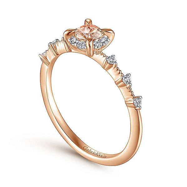 Gabriel & Co Rose Gold Round Morganite and Diamond Halo Ring Image 3 David Scott Fine Jewelry Panama City Beach, FL