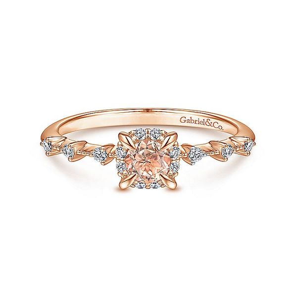 Gabriel & Co Rose Gold Round Morganite and Diamond Halo Ring David Scott Fine Jewelry Panama City Beach, FL