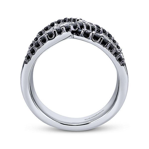 Gabriel & Co Silver Wide Band Black Spinel Ladies Ring Image 2 David Scott Fine Jewelry Panama City Beach, FL