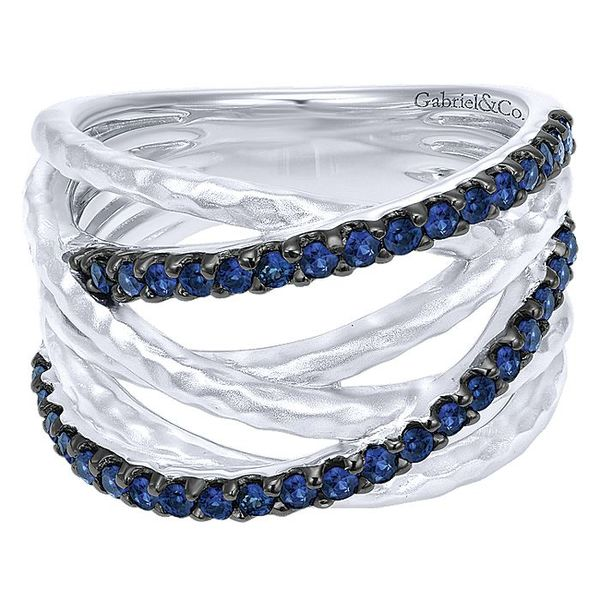 Gabriel & Co Silver Hammered Wide Band Layered Sapphire Ring David Scott Fine Jewelry Panama City Beach, FL