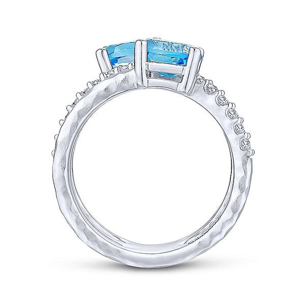 Gabriel & Co Silver Hammered Swiss Blue Topaz And White Sapphire Wide Band Ring Image 2 David Scott Fine Jewelry Panama City Beach, FL