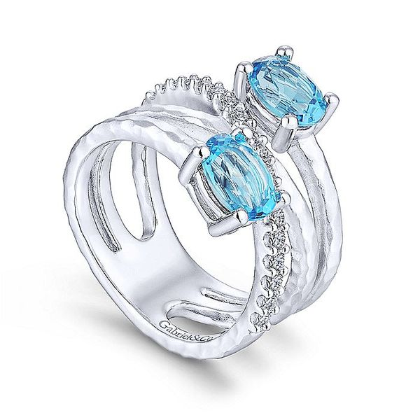 Gabriel & Co Silver Hammered Swiss Blue Topaz And White Sapphire Wide Band Ring Image 3 David Scott Fine Jewelry Panama City Beach, FL