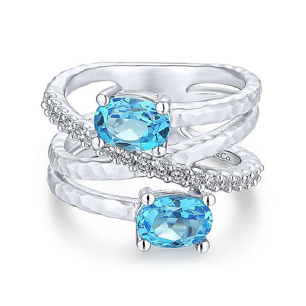 Gabriel & Co Silver Hammered Swiss Blue Topaz And White Sapphire Wide Band Ring David Scott Fine Jewelry Panama City Beach, FL