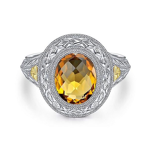 Gabriel & Co Sterling Silver And Yellow Gold Citrine Fashion Ring David Scott Fine Jewelry Panama City Beach, FL