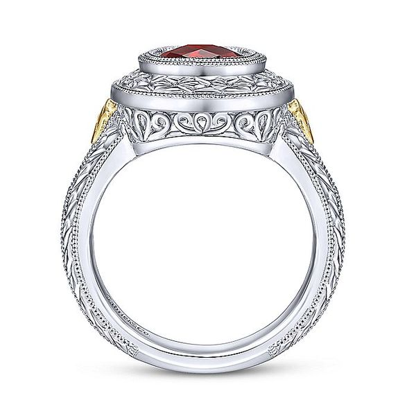 Gabriel & Co Sterling Silver And Yellow Gold Garnet Fashion Ring Image 2 David Scott Fine Jewelry Panama City Beach, FL