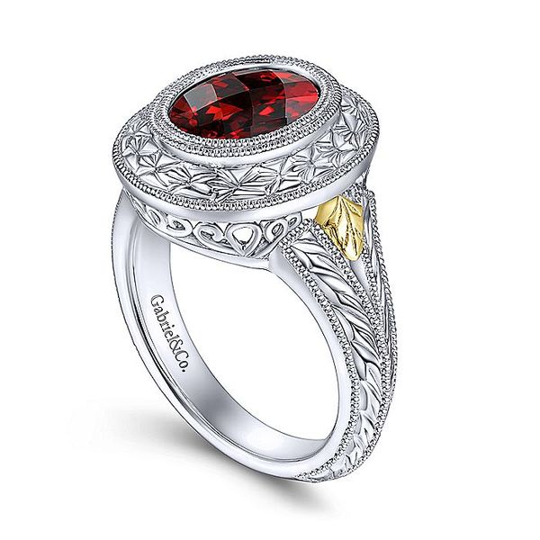 Gabriel & Co Sterling Silver And Yellow Gold Garnet Fashion Ring Image 3 David Scott Fine Jewelry Panama City Beach, FL