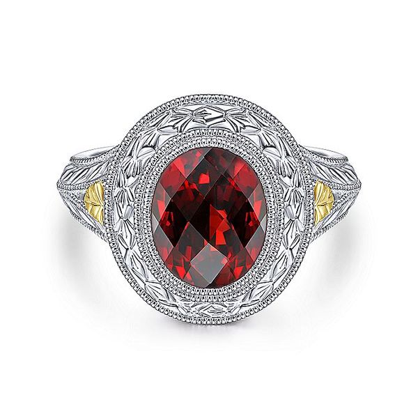 Gabriel & Co Sterling Silver And Yellow Gold Garnet Fashion Ring David Scott Fine Jewelry Panama City Beach, FL