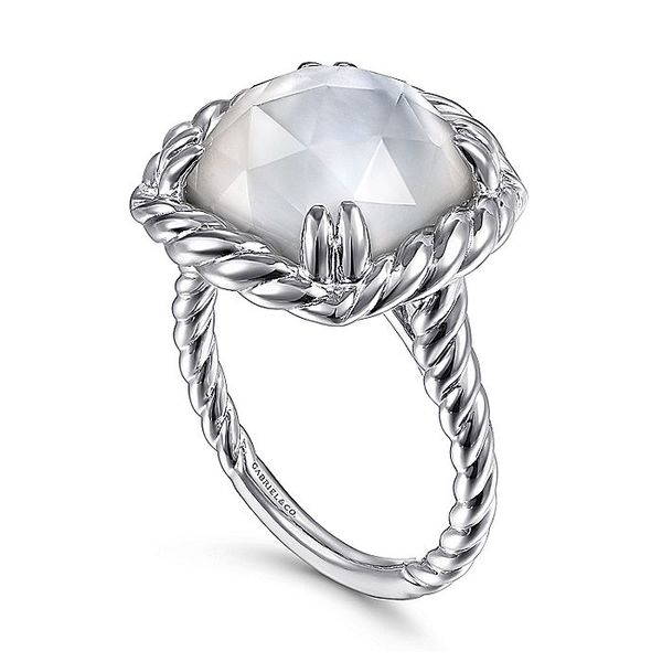 Gabriel & Co Sterling Silver Rock Crystal and White MOP Ring Image 3 David Scott Fine Jewelry Panama City Beach, FL