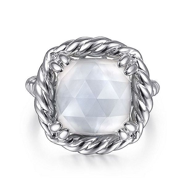 Gabriel & Co Sterling Silver Rock Crystal and White MOP Ring David Scott Fine Jewelry Panama City Beach, FL