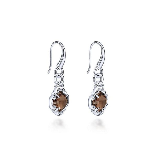 Gabriel & Co Silver Smoky Quartz Clover Drop Earrings Image 2 David Scott Fine Jewelry Panama City Beach, FL