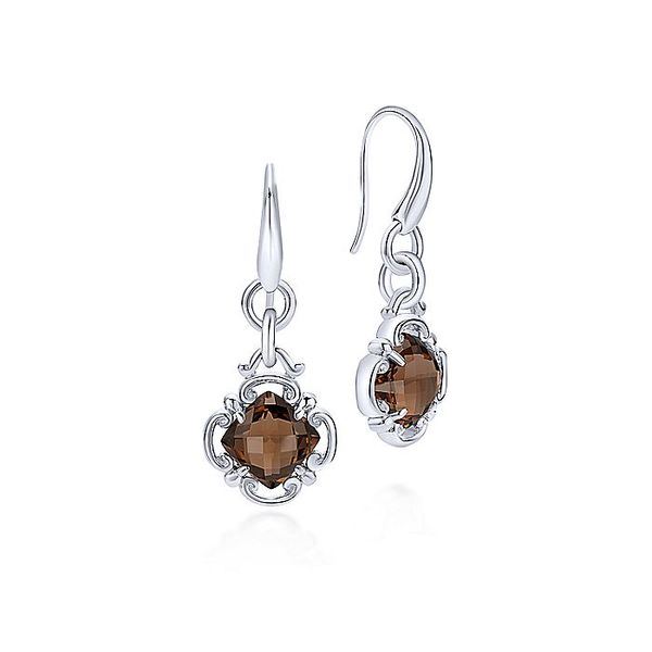 Gabriel & Co Silver Smoky Quartz Clover Drop Earrings David Scott Fine Jewelry Panama City Beach, FL