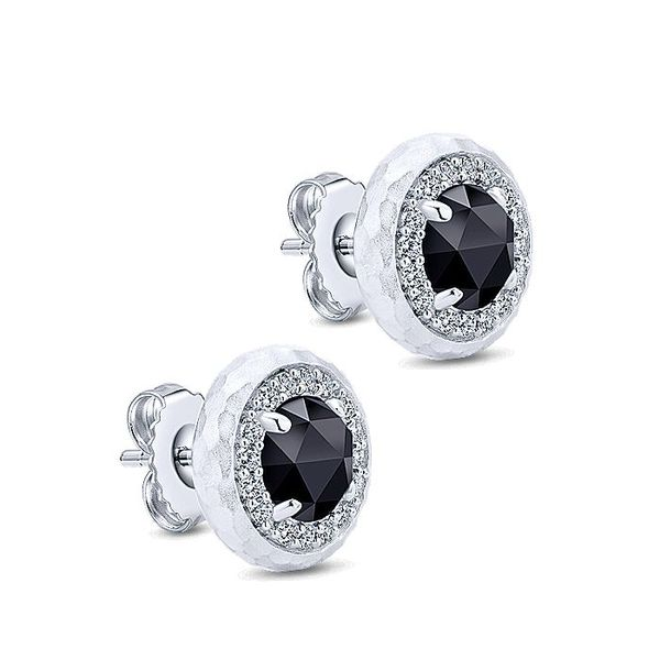 Gabriel & Co. Sterling Round Rock Crystal Black Onyx And White Sapphire Stud Earrings Image 2 David Scott Fine Jewelry Panama City Beach, FL
