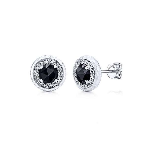 Gabriel & Co. Sterling Round Rock Crystal Black Onyx And White Sapphire Stud Earrings David Scott Fine Jewelry Panama City Beach, FL
