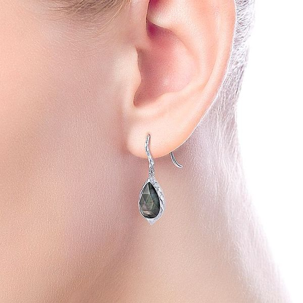 Gabriel & Co Sterling Silver Hammered Pear Shaped Rock Crystal/Black MOP Drop Earrings Image 2 David Scott Fine Jewelry Panama City Beach, FL
