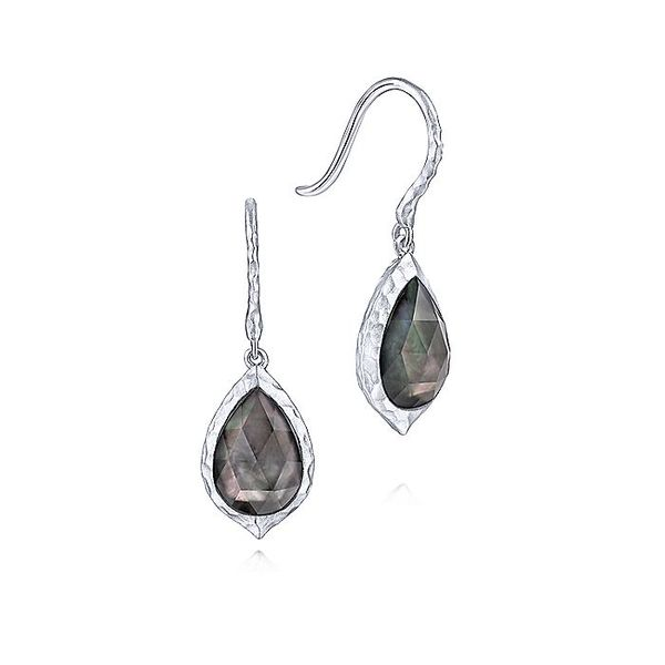 Gabriel & Co Sterling Silver Hammered Pear Shaped Rock Crystal/Black MOP Drop Earrings David Scott Fine Jewelry Panama City Beach, FL
