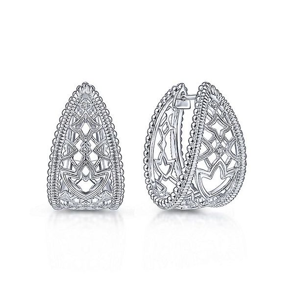 Gabriel & Co Sterling Silver 25mm Wide Intricate White Sapphire Hoop Earrings David Scott Fine Jewelry Panama City Beach, FL