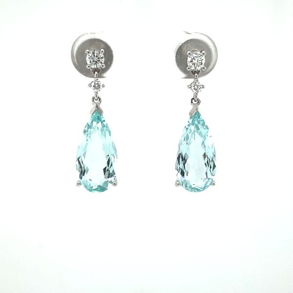 14 Karat White Gold Aquamarine and Diamond Earrings David Scott Fine Jewelry Panama City Beach, FL