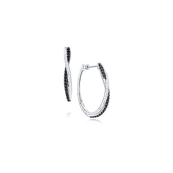 Gabriel & Co Silver Hammered Twisted Black Spinel Hoop Earrings David Scott Fine Jewelry Panama City Beach, FL