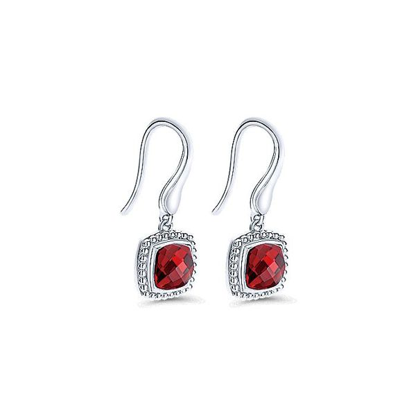Gabriel & Co Sterling Silver Earrings with Cushion Cut Garnet Drops Image 2 David Scott Fine Jewelry Panama City Beach, FL