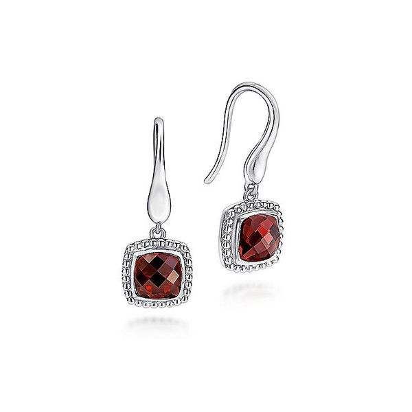 Gabriel & Co Sterling Silver Earrings with Cushion Cut Garnet Drops David Scott Fine Jewelry Panama City Beach, FL
