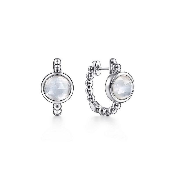 Gabriel & Co Sterling Silver 15mm Rock Crystal and White Mother of Pearl Huggies David Scott Fine Jewelry Panama City Beach, FL