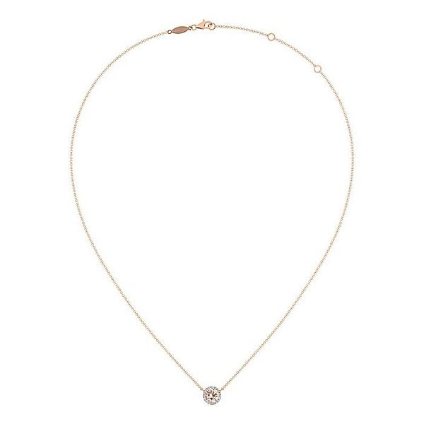 Gabriel & Co. Rose Gold Morganite And Diamond Fashion Necklace Image 2 David Scott Fine Jewelry Panama City Beach, FL