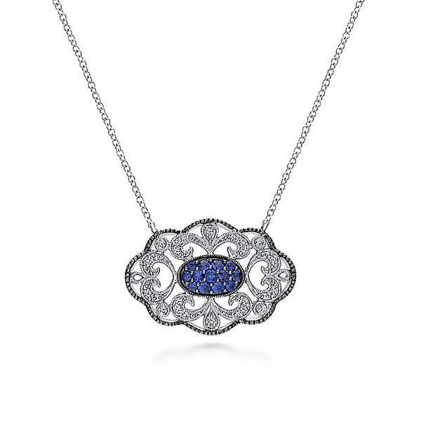 Gabriel & Co Silver Vintage Inspired Blue And White Sapphire Necklace David Scott Fine Jewelry Panama City Beach, FL
