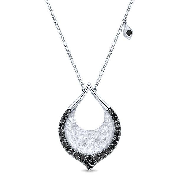 Gabriel & Co Silver And Black Spinel Hammered Pear Shaped Necklace David Scott Fine Jewelry Panama City Beach, FL