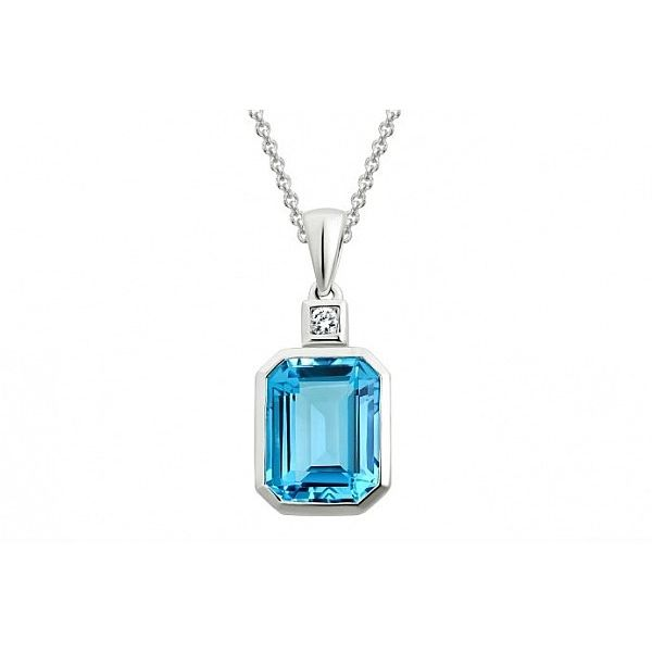 White Gold Blue Topaz Necklace David Scott Fine Jewelry Panama City Beach, FL