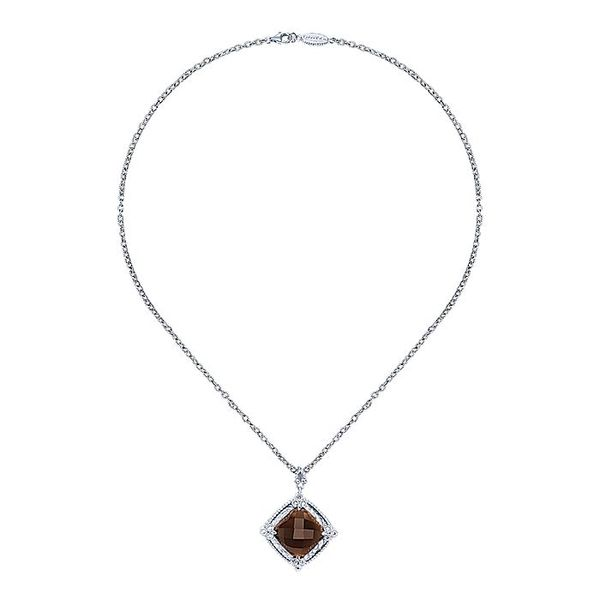 Gabriel & Co Sterling Silver Smoky Quartz And Diamond Pendant Image 2 David Scott Fine Jewelry Panama City Beach, FL