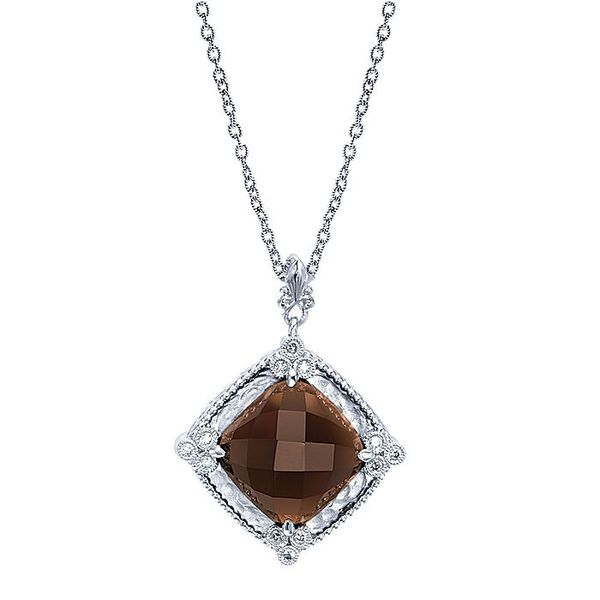 Gabriel & Co Sterling Silver Smoky Quartz And Diamond Pendant David Scott Fine Jewelry Panama City Beach, FL