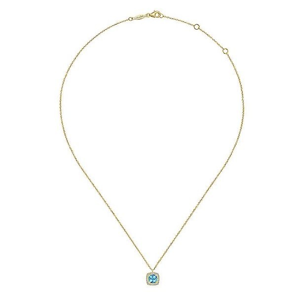 Gabriel & Co Yellow Gold Swiss Blue Topaz Diamond Fashion Necklace Image 2 David Scott Fine Jewelry Panama City Beach, FL