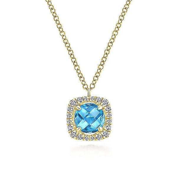 Gabriel & Co Yellow Gold Swiss Blue Topaz Diamond Fashion Necklace David Scott Fine Jewelry Panama City Beach, FL