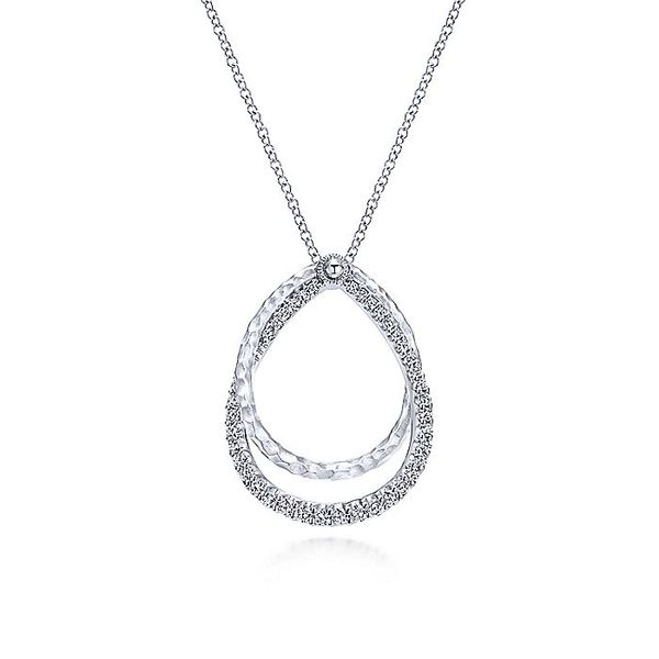 Gabriel & Co Silver White Sapphire Layered Pear Shaped Necklace David Scott Fine Jewelry Panama City Beach, FL