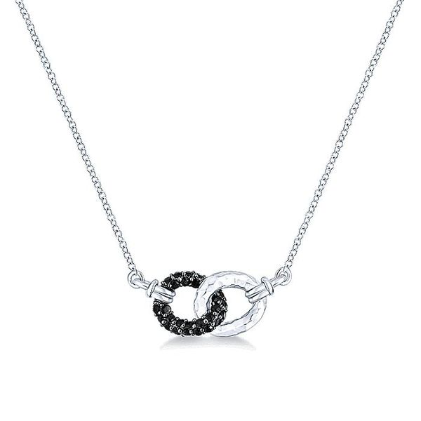 Gabriel & Co Silver and Black Spinel Interlocking Loops Fashion Necklace David Scott Fine Jewelry Panama City Beach, FL