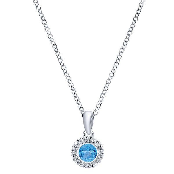 Gabriel & Co Sterling Silver Beaded Round Blue Topaz Pendant Necklace David Scott Fine Jewelry Panama City Beach, FL