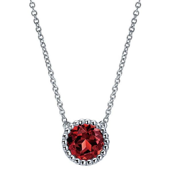 Gabriel & Co Sterling Silver Round Garnet Pendant Necklace David Scott Fine Jewelry Panama City Beach, FL