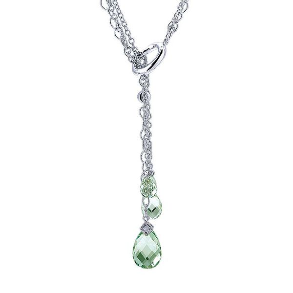 Gabriel & Co Sterling Silver Teardrop Green Amethyst Diamond Y Knot Pendant Necklace David Scott Fine Jewelry Panama City Beach, FL