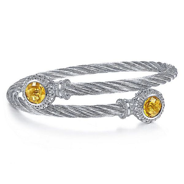 Gabriel & Co Sterling Silver and Twisted Cable Stainless Steel Citrine Stone Bypass Bangle David Scott Fine Jewelry Panama City Beach, FL