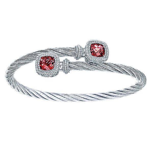 Gabriel & Co Sterling Silver and Twisted Cable Stainless Steel Garnet Stone Bypass Bangle David Scott Fine Jewelry Panama City Beach, FL
