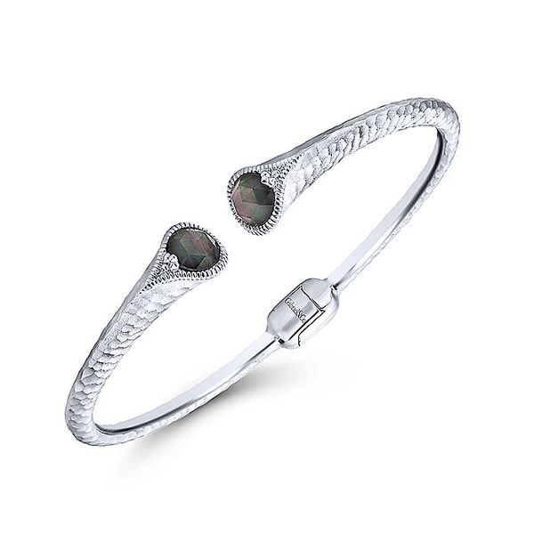 Gabriel & Co Sterling Silver Rock Crystal and Black Mother Of Pearl Split Bangle Image 2 David Scott Fine Jewelry Panama City Beach, FL