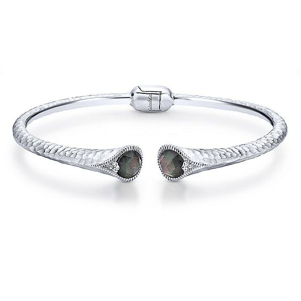 Gabriel & Co Sterling Silver Rock Crystal and Black Mother Of Pearl Split Bangle David Scott Fine Jewelry Panama City Beach, FL