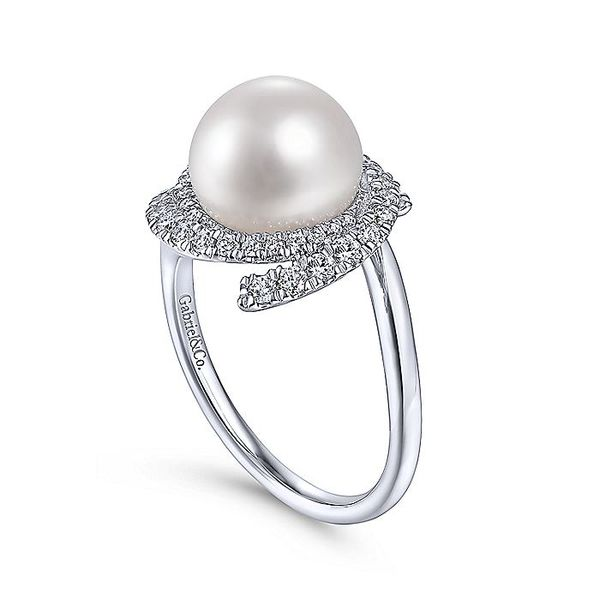 Gabriel & Co. White Gold Cultured Pearl Swirling Diamond Halo Fashion Ring Image 3 David Scott Fine Jewelry Panama City Beach, FL