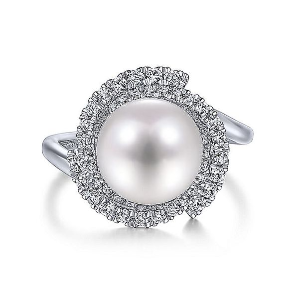 Gabriel & Co. White Gold Cultured Pearl Swirling Diamond Halo Fashion Ring David Scott Fine Jewelry Panama City Beach, FL