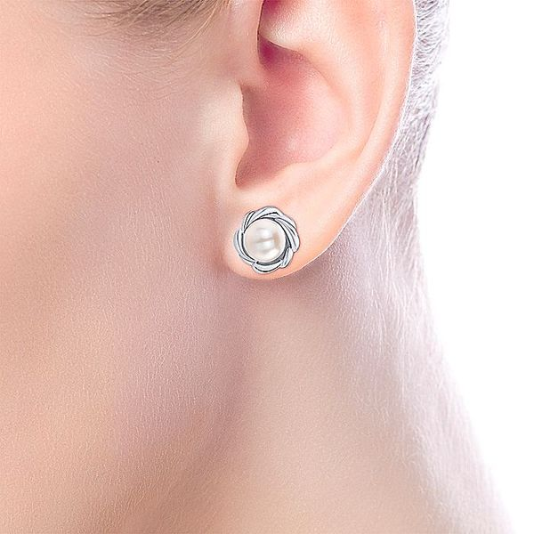 Gabriel & Co Sterling Silver Cultured Pearl Stud Earrings Image 3 David Scott Fine Jewelry Panama City Beach, FL