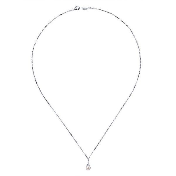 Gabriel & Co. White Gold Pearl Diamond Drop Necklace Image 2 David Scott Fine Jewelry Panama City Beach, FL