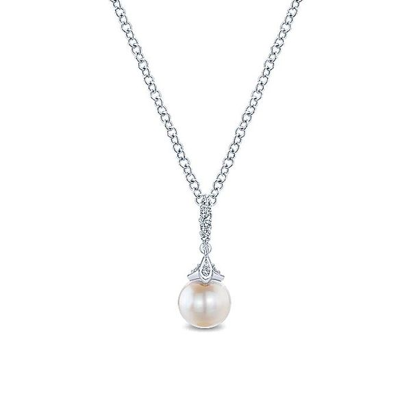 Gabriel & Co. White Gold Pearl Diamond Drop Necklace David Scott Fine Jewelry Panama City Beach, FL