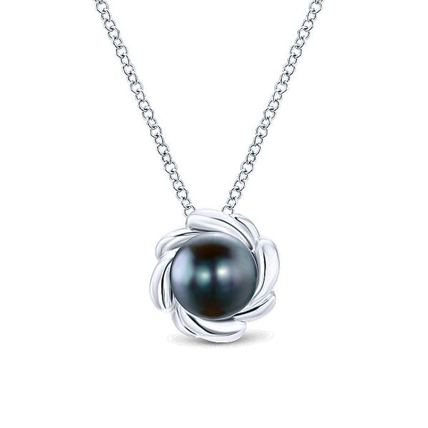 Gabriel & Co. Silver & Black Pearl Necklace David Scott Fine Jewelry Panama City Beach, FL